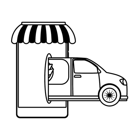 delivery service truck cartoon vector illustration graphic design Standard-Bild - 124832668