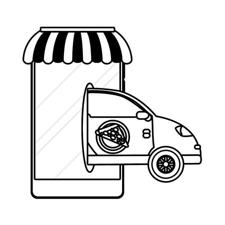 delivery service pizza shop car cartoon vector illustration graphic design Standard-Bild - 124832669