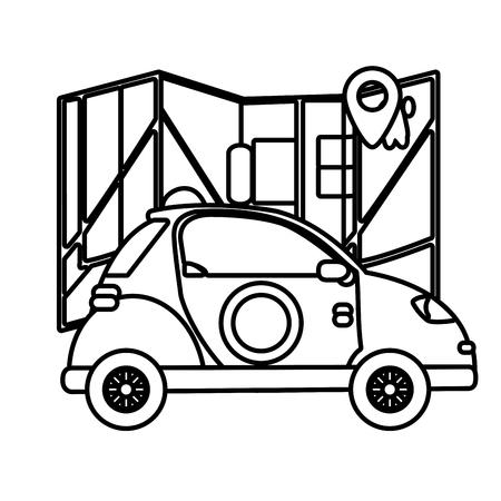delivery service car cartoon vector illustration graphic design Standard-Bild - 124832695