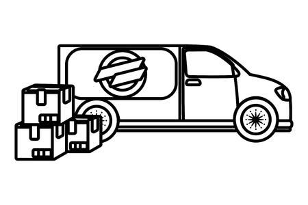 delivery service truck cartoon vector illustration graphic design Standard-Bild - 124832697