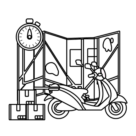 delivery service motorycle cartoon vector illustration graphic design Standard-Bild - 124832698