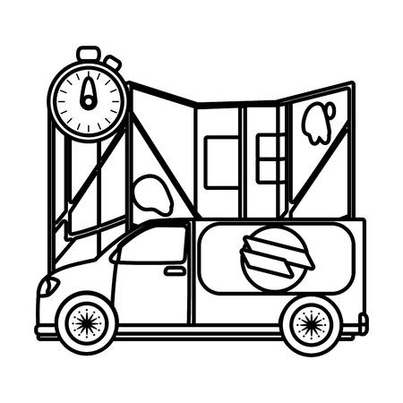 delivery service truck cartoon vector illustration graphic design Standard-Bild - 124832699