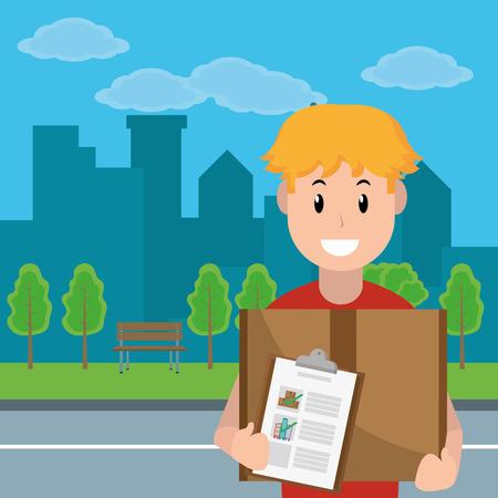 delivery service courier holding box cartoon vector illustration graphic design Standard-Bild - 124832707