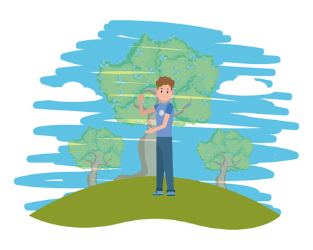 young man in the nature park cartoon vector illustration graphic design