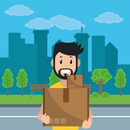 young man holding cargo box cartoon vector illustration graphic design