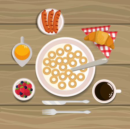 delicious cereal with sausages and croissant breakfast vector illustration Ilustrace