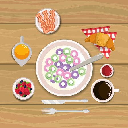 delicious cereal with bacon and oranges juice vector illustration