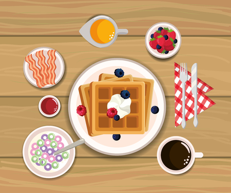 delicious waffles with bacons and orange juice vector illustration