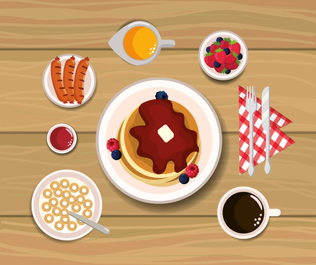 delicious pancakes with blackberries and strawberries sauce vector illustration