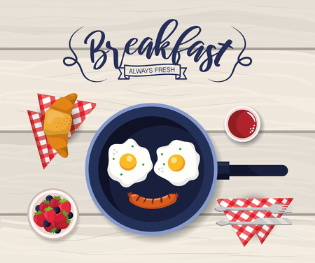 fried eggs with sausage and croissant breakfast vector illustration Illustration
