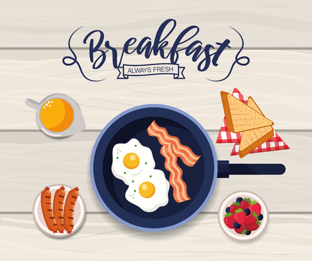 healthy fried eggs with sliced bread vector illustration Ilustrace