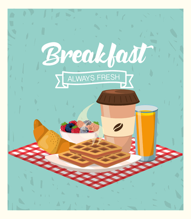 breakfast with blackberries and strawberries fruit with juice vector illustration