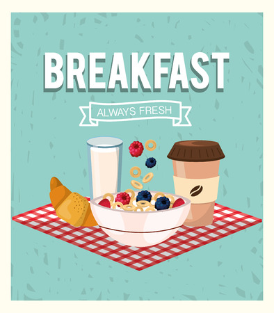 breakfast and cereal with strawberries and blackberries fruits vector illustration Illustration