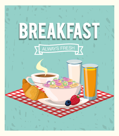 delicious cereal with orange juice and croissant breakfast vector illustration