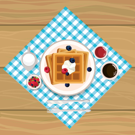 delicios waffles breakfast with chocolate sauces vector illustration