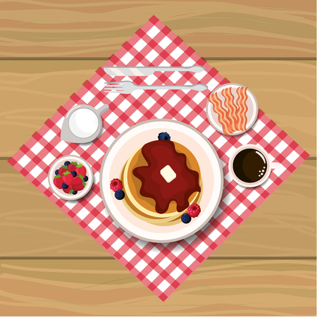 delicious pancakes breakfast with chocolate sauces vector illustration