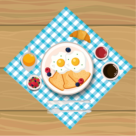 delicious fried eggs with slice bread vector illustration