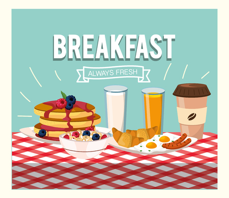 delicious pancakes with orange juice and cereal vector illustration