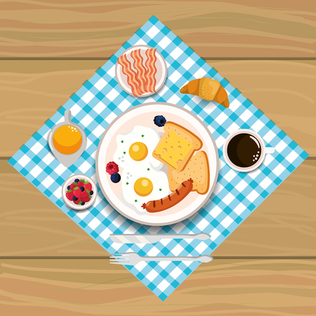 fried eggs with sausage and bacons breakfast vector illustration Illustration