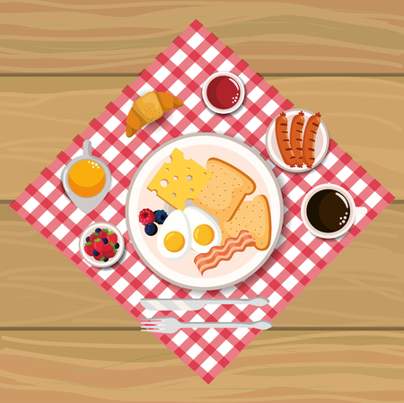 fried eggs with bacons and sausages breakfast vector illustration