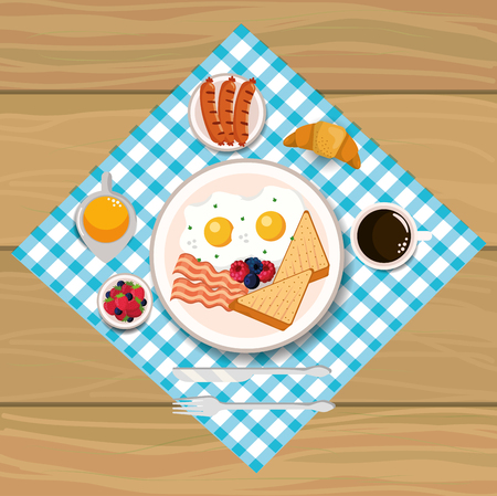 fried eggs with bacons and sliced bread vector illustration