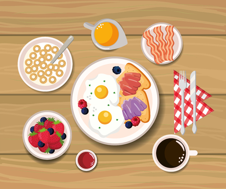 fried eggs with sliced bread and cereal vector illustration