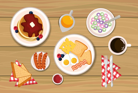 delicious pancakes with fried eggs and sliced bread vector illustration Ilustrace