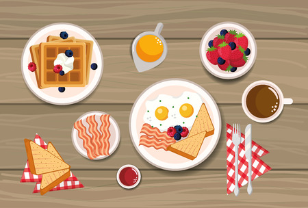 waffles with fried eggs and sliced bread vector illustration
