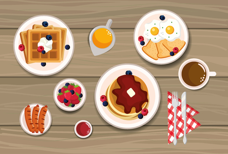 delicious waffles with pancakes and fried eggs vector illustration Ilustrace