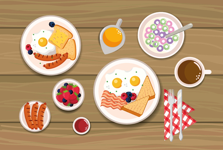 delicious cereal with sliced bread and sausages vector illustration
