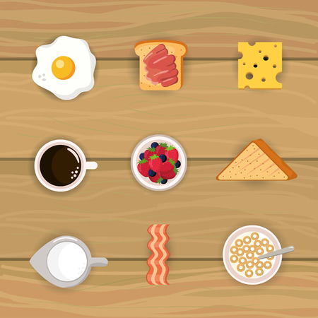 set delicious breakfast with cereal and sliced bread vector illustration Stock Illustratie