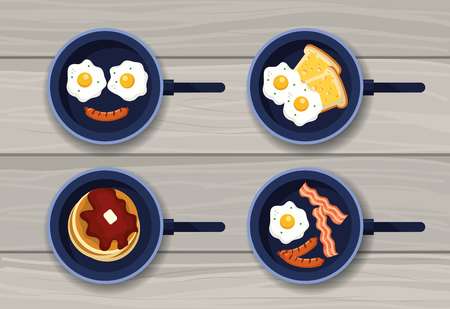 set fried eggs with pancakes and sausages vector illustration Ilustrace