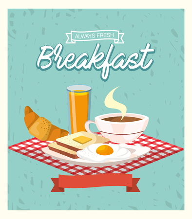 delicious breakfast with fried eggs and orange juice vector illustration Illustration
