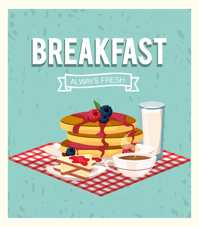 delicious pancakes with coffee cup and milk glass vector illustration Ilustrace