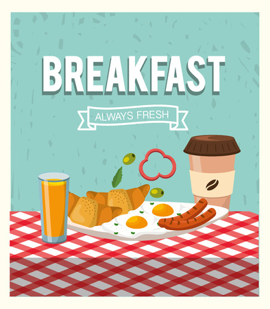 delicious croissants with fried eggs and orange juice vector illustration