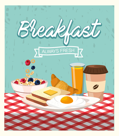fried eggs with sliced bread and coffee plastic cup vector illustration Illustration