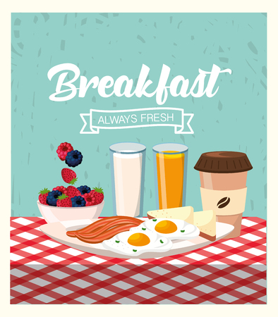 fried eggs with bacons and orange juice vector illustration