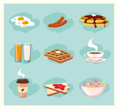 set delicious breakfast nutrition food vector illustration Ilustrace