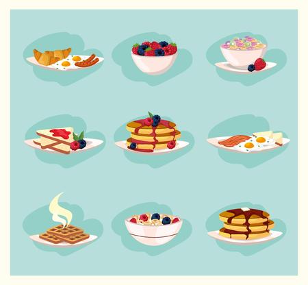 set healthy breakfast nutrition food vector illustration Illustration