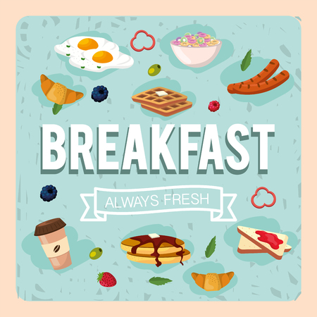 set healthy breakfast with protein food vector illustration