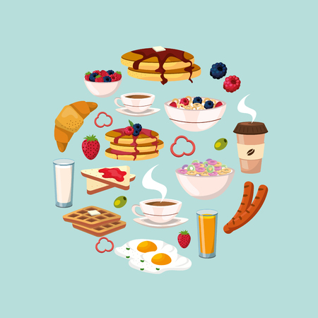 set healthy breakfast with protein food nutrition vector illustration Illustration