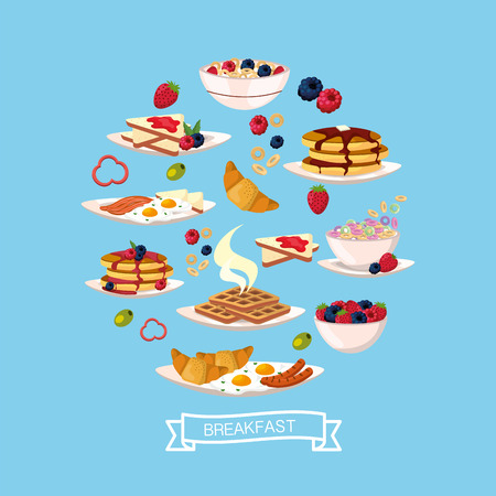 delicious breakfast with protein nutrition vector illustration