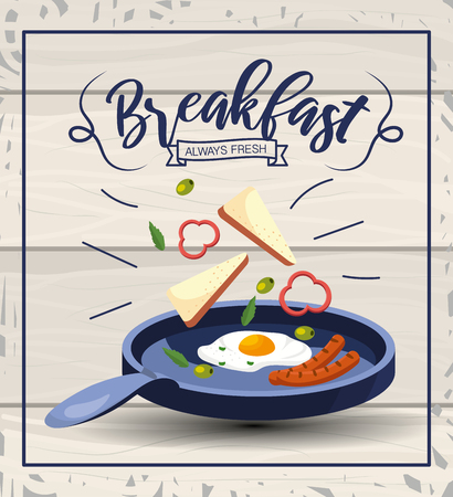 fried eggs with sausages breakfast in the pan vector illustration