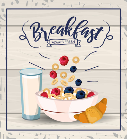 delicious cereal with fruits and milk glass vector illustration