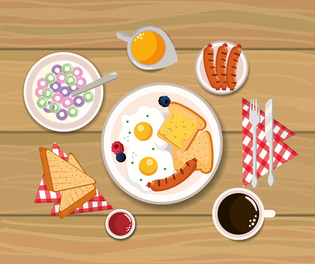delicious cereal with fried eggs and sliced bread vector illustration Ilustrace