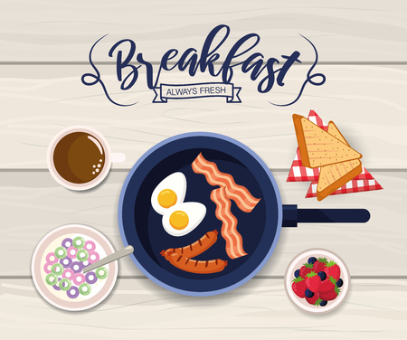 delicious fried eggs with bacon and sausages vector illustration