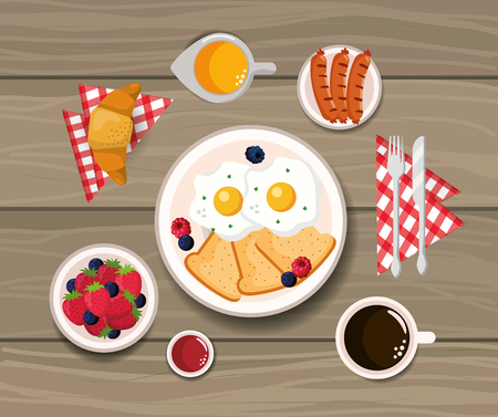 fried eggs with croissant and sausages nutrition vector illustration
