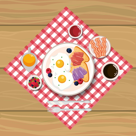 delicious fried eggs with bacon and sliced bread vector illustration Ilustrace