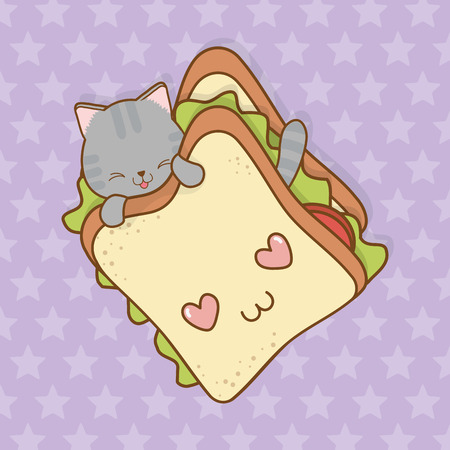 cute little cat with sandwich kawaii character vector illustration design