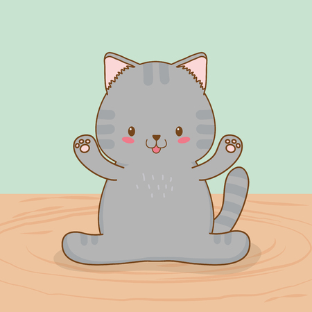 cute little cat kawaii character vector illustration design Çizim